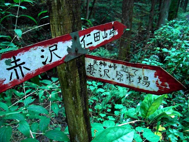 林道合流地点の案内